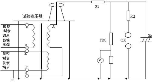 FRC- 阻容分压器; V- 分压器高压表。 按照图4、结合图2所进行的工频耐压试验接好工作线路,试验变压器的高压绕阻的X端(高压尾)、仪表测量绕组的F端、试验变压器的外壳以及电源控制箱(台)的外壳必须可靠接地。 用三台试验变压器串激做工频耐压试验时、第二、三级试验变压器的初级绕组X端,仪表测量绕组的F端,以及高压绕组的X端(高压尾)均接本级试验变压器的外壳,第二、三级试验变压器的主体必须放置在绝缘支架上。除第一级以外、第二、三级试验变压器的主体不要接地线。其接线方式见图3所示。 接电源前,电源控制箱(