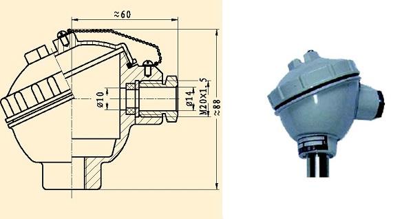 一体化热电偶/热电阻接线方式:如下图