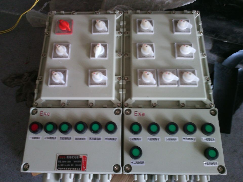 <strong>新疆BXM(D)-12K防爆照明(动力)配电箱BXM-12KXX BXD-12KXX</strong>    适用于交流50Hz,电压至380V及以下,直流至440及以下,电流100A以内的电路中,作为工作现场中照明控制,电能传送、动力控制等作用。   本系列产品内装C65高分断小型断路器。   可带漏电保护,光电控制等功能。                一.主要技术参数: 1.防爆标志:ExdeⅡBT4*ExdeⅡCT4 2.防护等级:IP55、IP65 3.防腐等级:WF1 4.额定电压:AC380V 5.支回路: 大电流100A 6.进线口螺纹:G2
