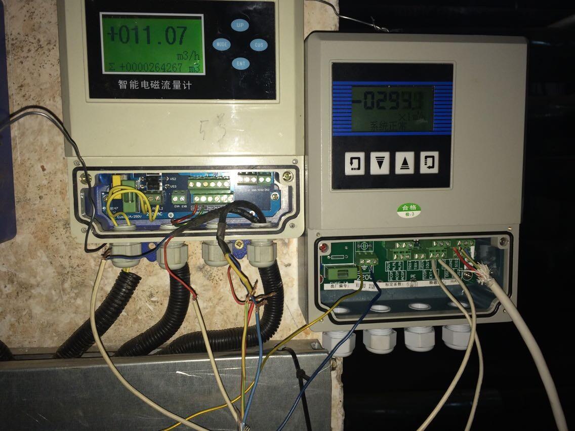 奧科分體式電磁流量計流量積算儀安裝圖片