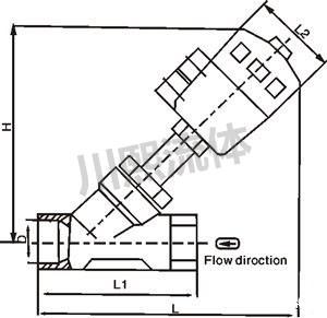 气动黄铜角座阀尺寸图